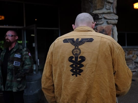 A white supremacists from the Stormfront group gathers