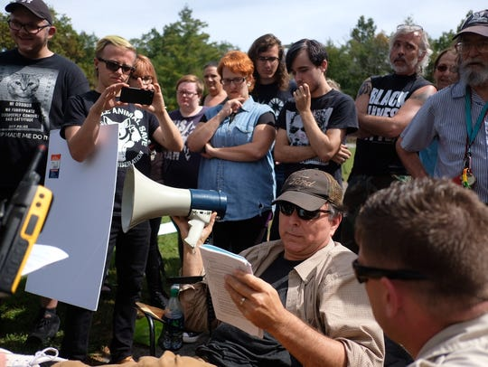 Activist Chris Irwin, who organizes the protest against