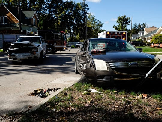 Two vehicles collided in the intersection of 16th and White streets Monday in Port Huron.