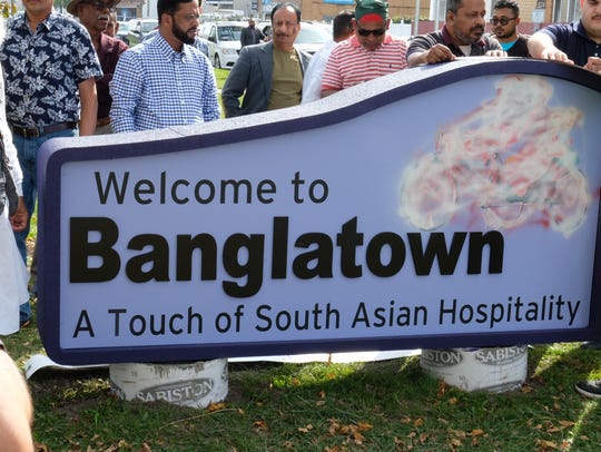 The Welcome to Banglatown sign had been spray painted