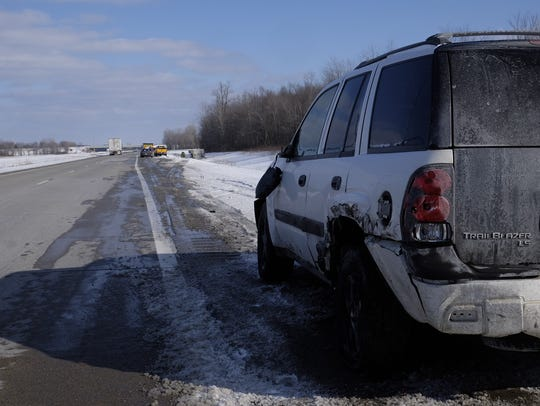 An SUV was sideswiped by a semi after its driver fell