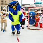 Local mascots compete in annual Broomball match