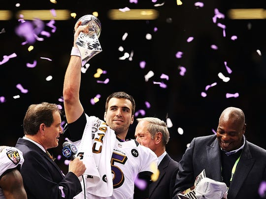 Joe Flacco, University of Delaware, Baltimore Ravens, Super Bowl XLVII (won)