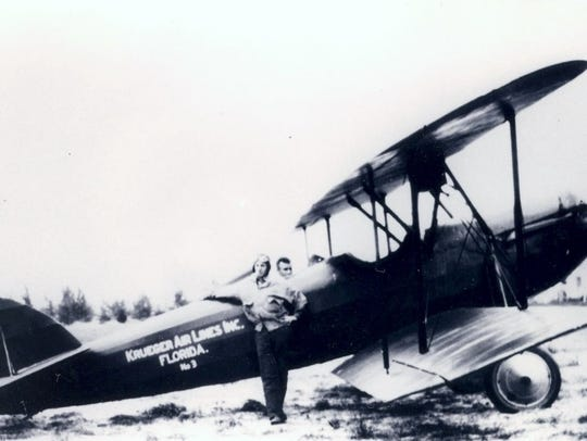 Krueger airplane service (Jim Reardon outside the plane,