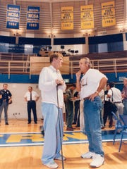 "Nick Nolte (left) on the set of the movie, ""Blue Chips"","