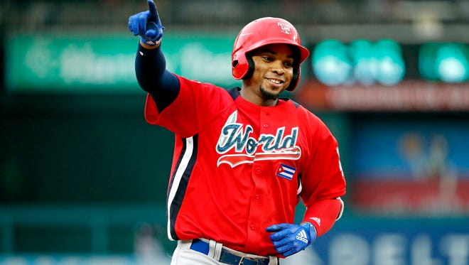 World Team outfielder Yusniel Diaz hit a pair of home runs in the All-Star Futures Game at Nationals Park.