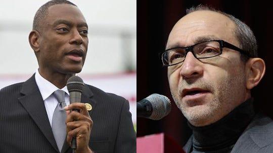 Former Cincinnati mayor Mark Mallory, left, and Kharkiv, Ukraine mayor Gennady Kernes, right