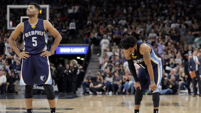 Memphis Grizzlies guard Andrew Harrison (5) and Memphis Grizzlies guard Mike Conley (11) stand on the court during the second half of Game 5 in a first-round series on April 25, 2017.