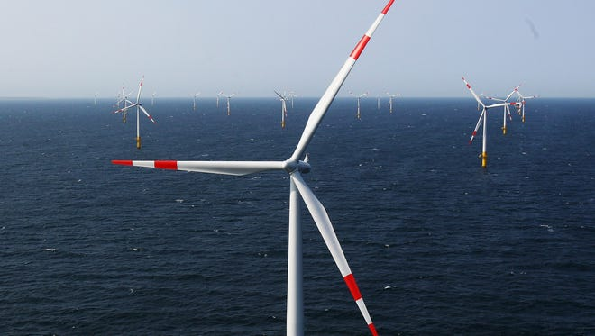 Wind turbines stand in the Baltic 1 offshore wind farm on April 29, 2011 in the Baltic Sea near Zingst, Germany.