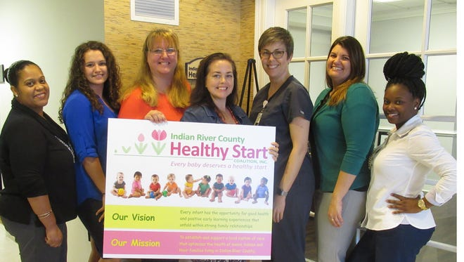 Representatives of the Indian River County Healthy Start Coalition management will greet guests at the door during the Jan. 18 open house, including, from left, Cecilia Escorbore, Brieanna Hernandez, Cheri Sofia, CEO Andrea Berry, Kristen Crocker, Deana Shatley and Janay Brown.