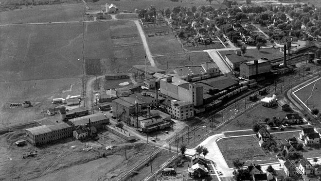 An aerial view of Cheeseville once located on Plymouth's south side.  Looking west.