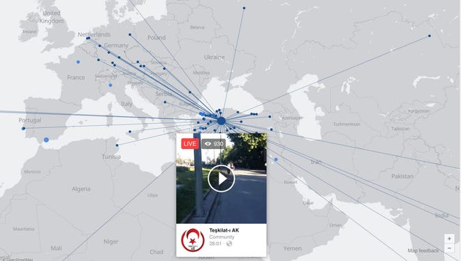 A map of Facebook Live early Saturday July 16 as Turkey's President Erdogan said a coup had been thwarted.