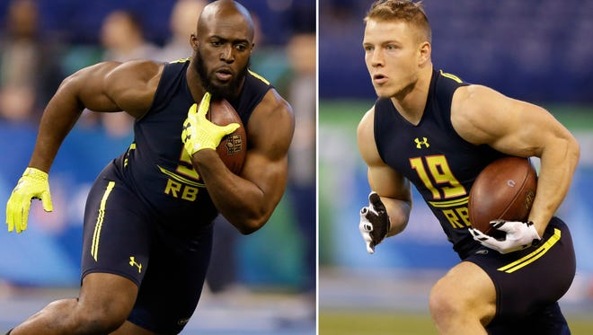 At left, in a March 3, 2017, file photo, LSU running back Leonard Fournette runs a drill at the NFL football scouting combine in Indianapolis. At right, also in a March 3, 2017, file photo, Stanford running back Christian McCaffrey runs a drill at the NFL football scouting combine in Indianapolis.