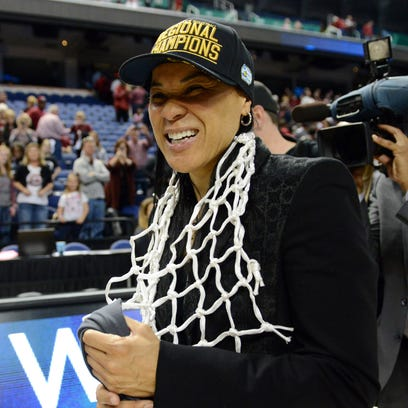 South Carolina Gamecocks head coach Dawn Staley reacts