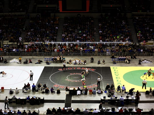 The OSAA high school state wrestling finals at Memorial Coliseum in 2015.