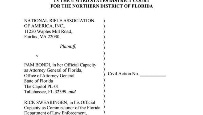 The NRA filed a lawsuit after Gov. Rick Scott signed a gun control bill into law.