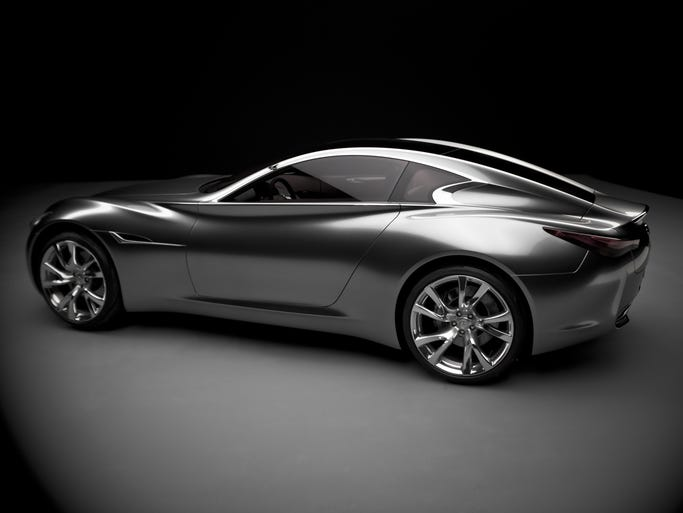 Infiniti showed the Essence concept car in 2009 at the Geneva auto show. The Q80 Inspiration the brand plans to unveil at the Paris show Oct. 2 draws from some of the Essence styling. Essence had a 592-hp, rear-drive, gasp-electric hybrid powertrain.