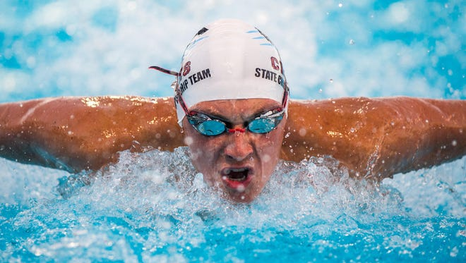Wyatt Foote swims the 200 IM as the Chiles boys swimming and diving team captured its first state championship on Friday, winning the FHSAA Class 3A meet in Stuart.