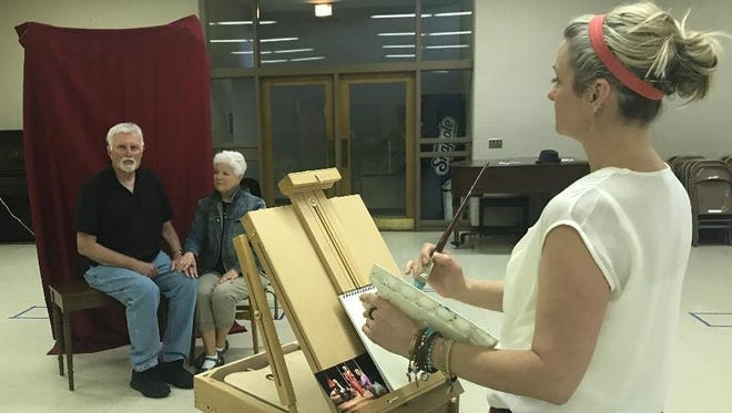 """Gary Zurbuchen and Nancy Ernst rehearse for Attic Theatre's production of """"Painting Churches."""""""