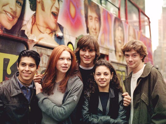 """""""That '70s Show,"""" pose in New York's Time Square Oct."""