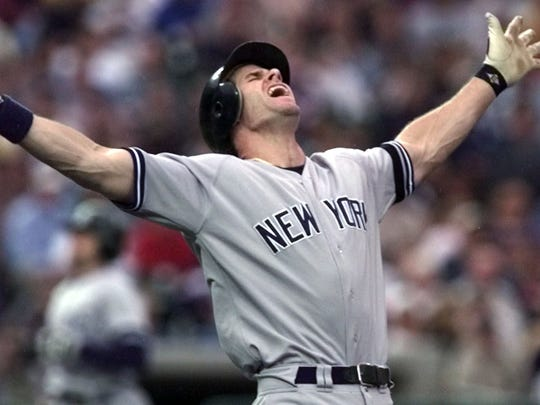 Yankees' Paul O'Neill reacts after he was called out on a groundout to first against the Detroit Tigers in 2000. O'Neill argued that the ball was hit foul.
