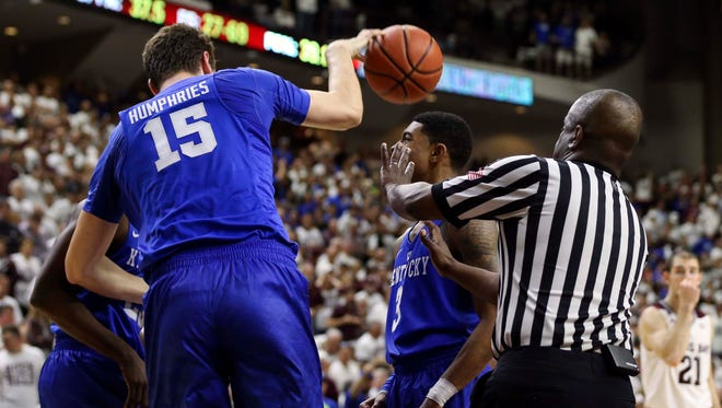 Feb 20, 2016; College Station, TX, USA; Kentucky Wildcats forward Isaac Humphries (15) is called for a technical foul after a play against the Texas A&M Aggies in overtime at Reed Arena. The Aggies defeated the Wildcats 79-77. Mandatory Credit: Troy Taormina-USA TODAY Sports