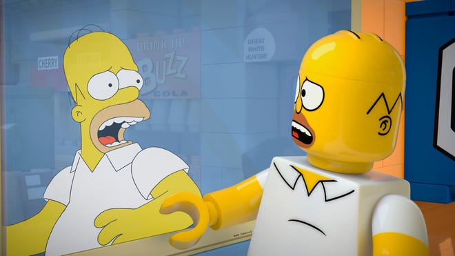 """Homer Simpson, from the Fox series, """"The Simpsons,"""" is a Lego figure in episode No. 550, """"Brick Like Me,"""" which airs tonight. Using computer-generated special effects, the town of Springfield and its residents are re-imagined."""