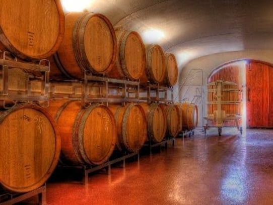 "Harmony Hill Vineyards underground ""wine cave."""