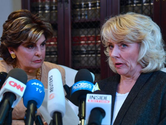 Gloria Allred (L) with Heather Kerr, 56, a new accuser