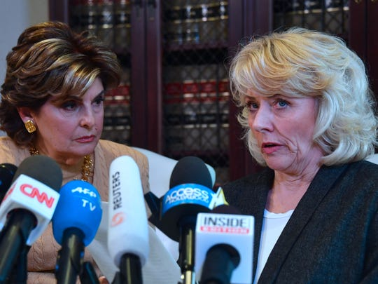 Gloria Allred (L) with Heather Kerr, 56, a new accuser of Harvey Weinstein, in Los Angeles, Oct.20, 2017.