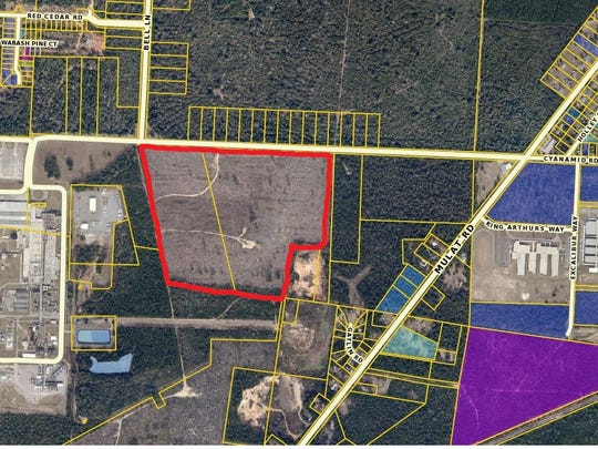 Santa Rosa County Commissioner Sam Parker has proposed this donated property (outlined in red) as possible use for a new county courthouse.