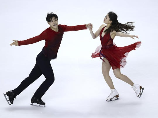 Alex and Maia Shibutani perform Sunday at the U.S. championships. The siblings say they have a compelling and beautiful performance set for their second Olympic competition.