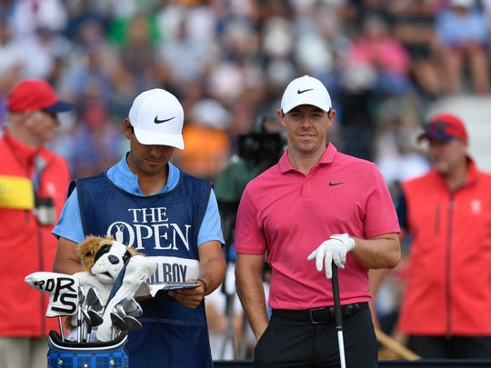 Jul 22, 2018; Carnoustie, Angus, SCT; Rory McIlroy  during the final round of The Open Championship golf tournament at Carnoustie Golf Links. Mandatory Credit: Steve Flynn-USA TODAY Sports