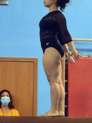 Newton senior Toria Thaw won all four apparatus and the all-around title, leading the Railers to a dual meet win over Emporia.
