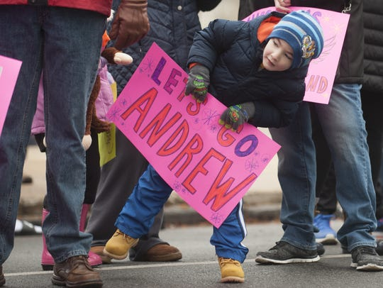 Four-year-old Brayden Myers, son of Woodbury's West
