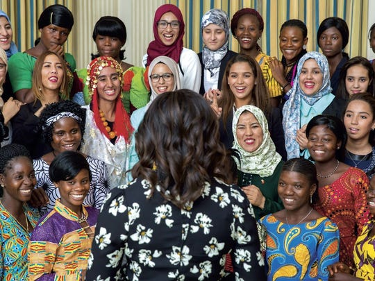 Michelle Obama with girls from Liberia and Morocco