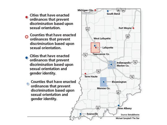 Indiana cities and/or counties that have ordinances