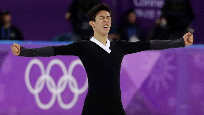 American Nathan Chen reacts following his performance during the men's free figure skating final in the Gangneung Ice Arena at the 2018 Winter Olympics in Gangneung, South Korea on Saturday.