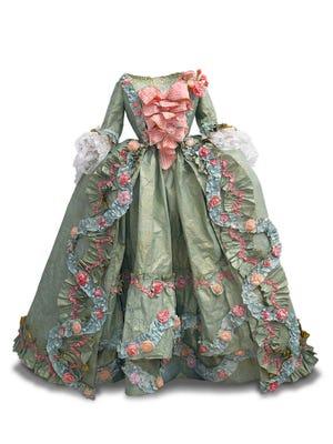 Madame de Pompadour court dress, created in paper by Isabell de Borchgrave