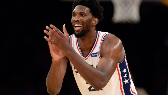 Philadelphia 76ers center Joel Embiid (21) reacts during the 115-109 victory against the Los Angeles Lakers in the second half at Staples Center.