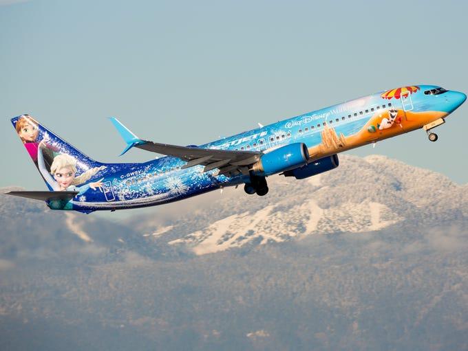 Westjet's 'Frozen' themed Disney jet departs Vancouver