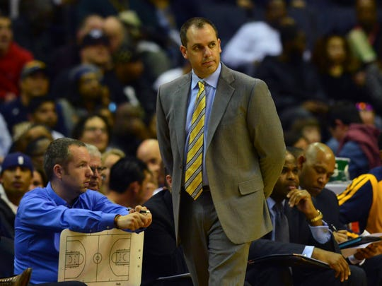 Indiana Pacers head coach Frank Vogel walks the sidelines during the second quarter against the Washington Wizards at Verizon Center.