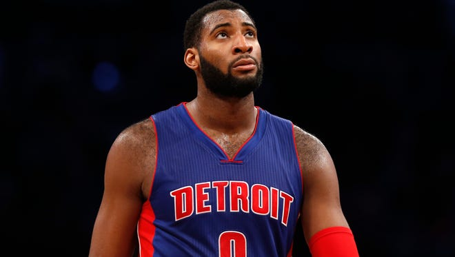 Detroit Pistons' Andre Drummond (0) looks up as he walks the court in the final seconds of an NBA basketball game against the Brooklyn Nets Sunday, Dec. 21, 2014, in New York.  Brooklyn beat Detroit 110-105.