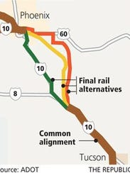 Transportation officials have said two proposed Phoenix-Tuscon