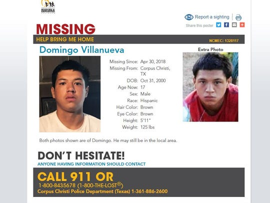 Domingo Villanueva, 17, was last seen April 2018. He