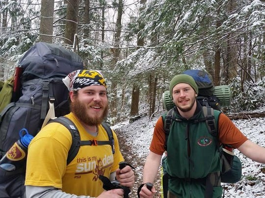 Alex Myers (from left) and Darrian Petruzzi during one of their many winter camping trips in the Smoky Mountains.