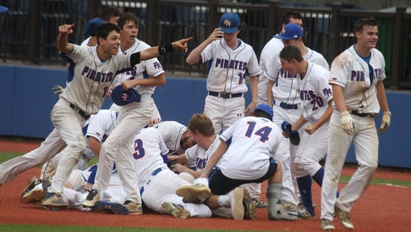 Pearl River players celebrate their 6-5 win over Nyack