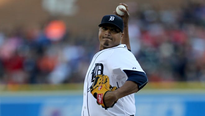 Detroit Tigers Alfredo Simon pitches against the Houston Astros on Friday, May 22,2015 at Comerica Park in Detroit.