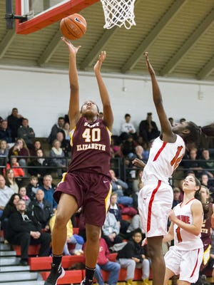 St. Elizabeth's Alexis Lee, seen here against Ursuline, had a game-high 15 points as the Vikings edged Caravel 50-49 on Friday night.