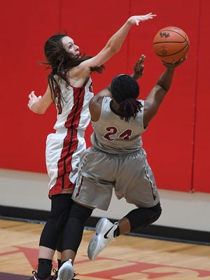 Wade Hampton's Alexis Guthrie, left, guards Rock Hill's Abriana Green (24) during the third round of the Class AAAAA playoffs at Wade Hampton High on Monday, February 19, 2018.
